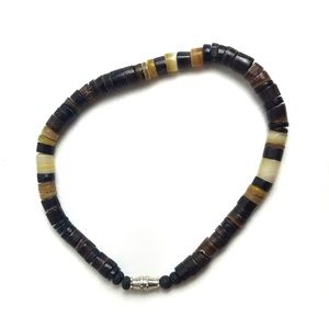 Vintage 70s Striped Shell Beaded Bracelet